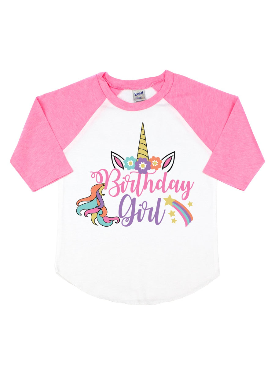birthday girl unicorn pink and white raglan shirt