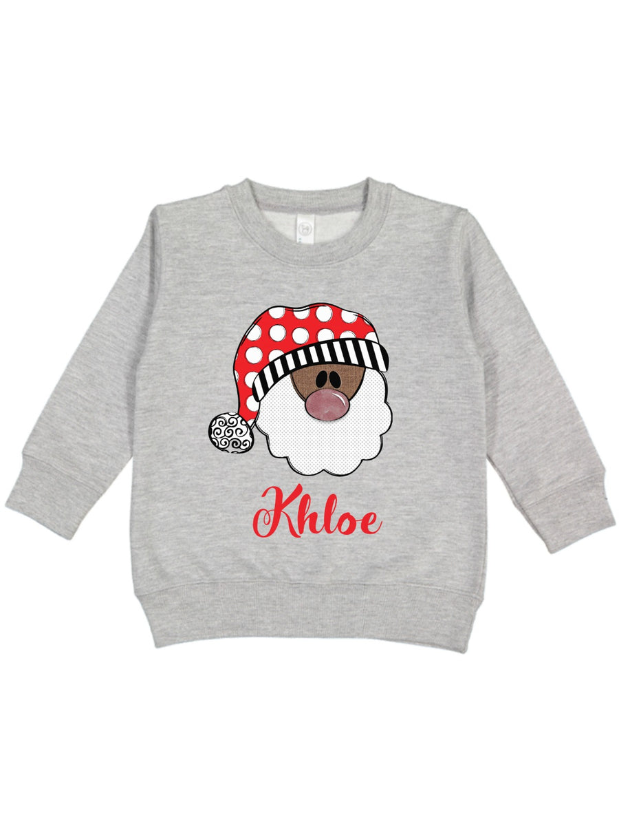personalized black Santa Christmas kids sweatshirt heather gray