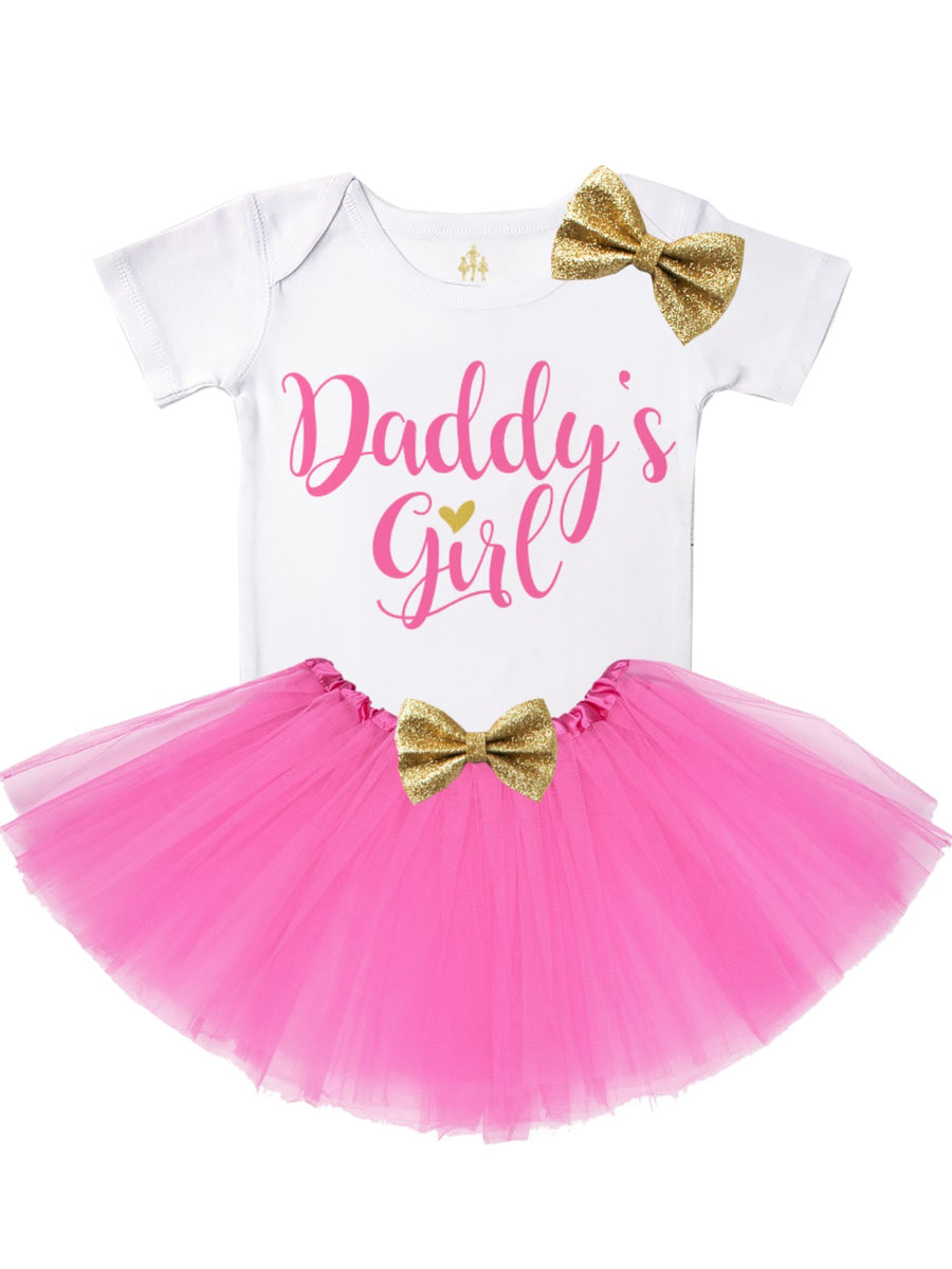 Daddy's Girl baby girl tutu outfit pink and gold