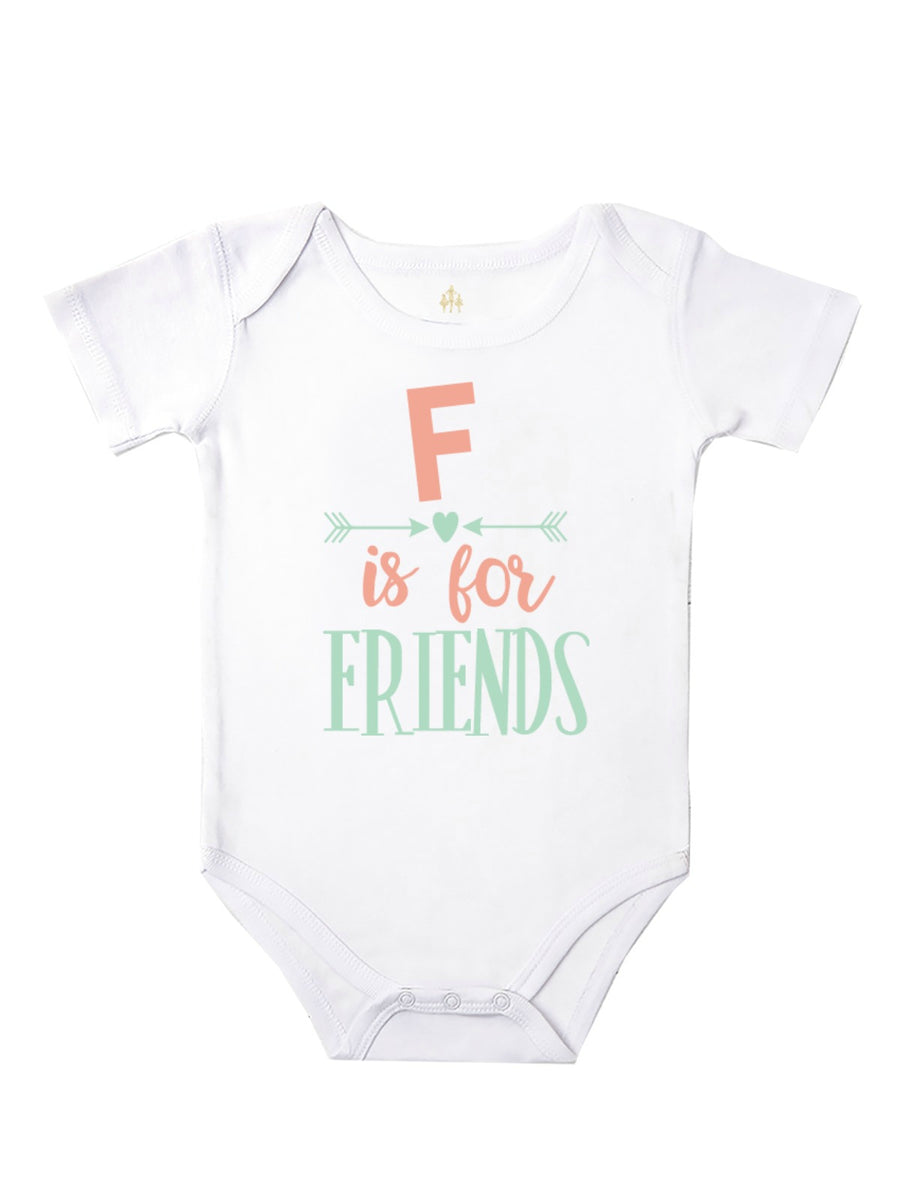 F is for friends baby bodysuit