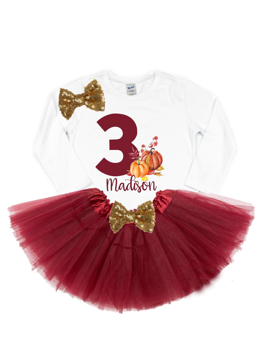 girls personalized fall birthday pumpkin tutu outfit burgundy and gold