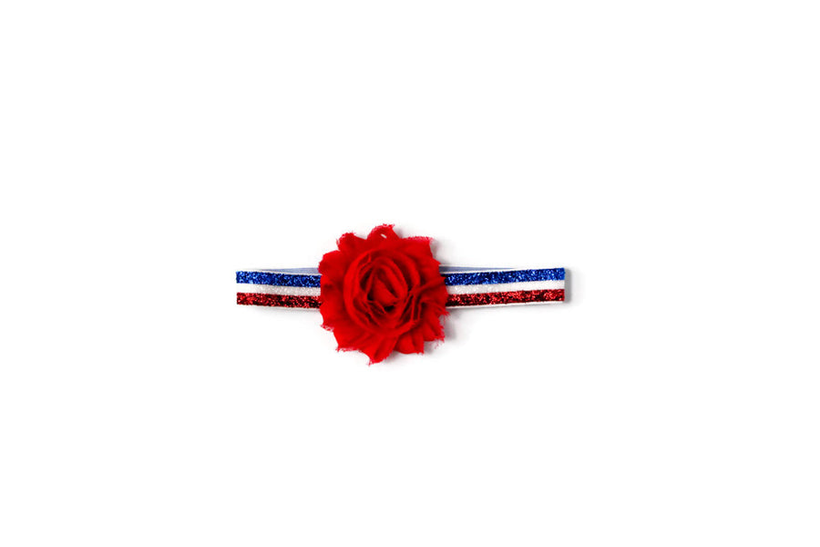 red white and blue glitter elastic baby girl headband