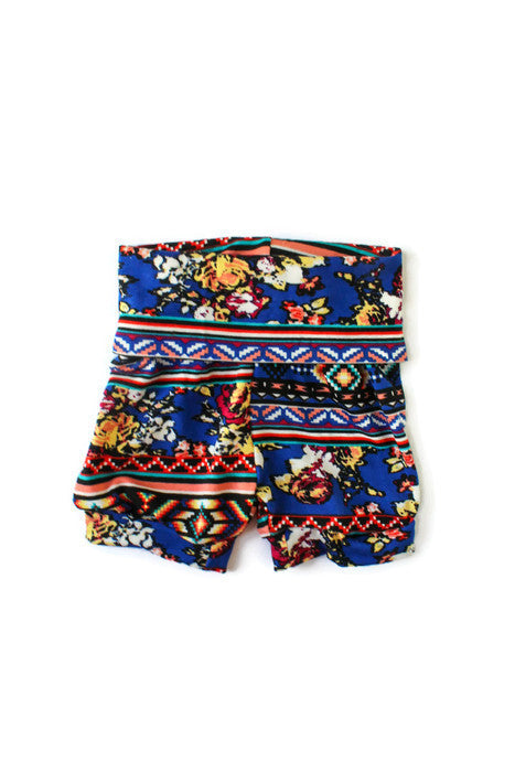 baby girl tribal printed blue shorts