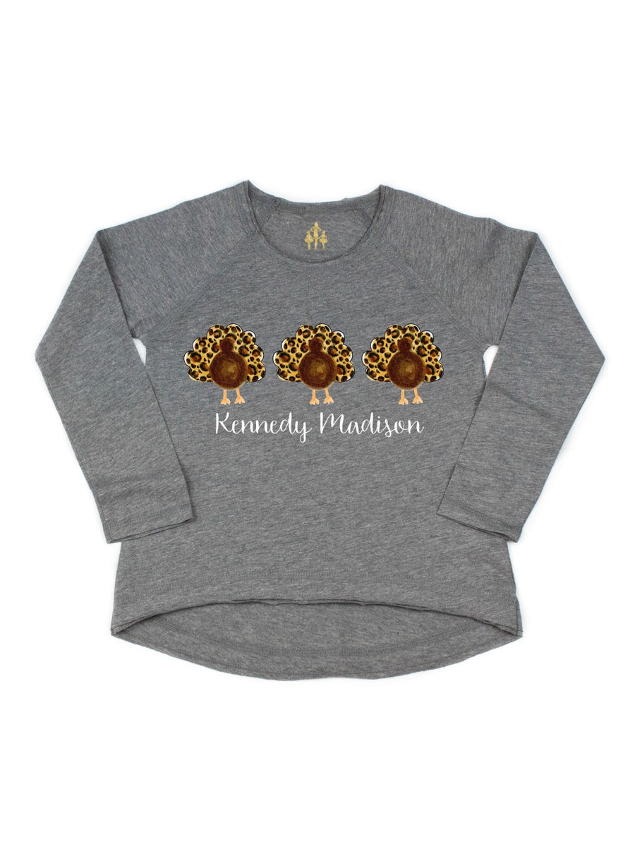girls leopard print thanksgiving turkey trio shirt