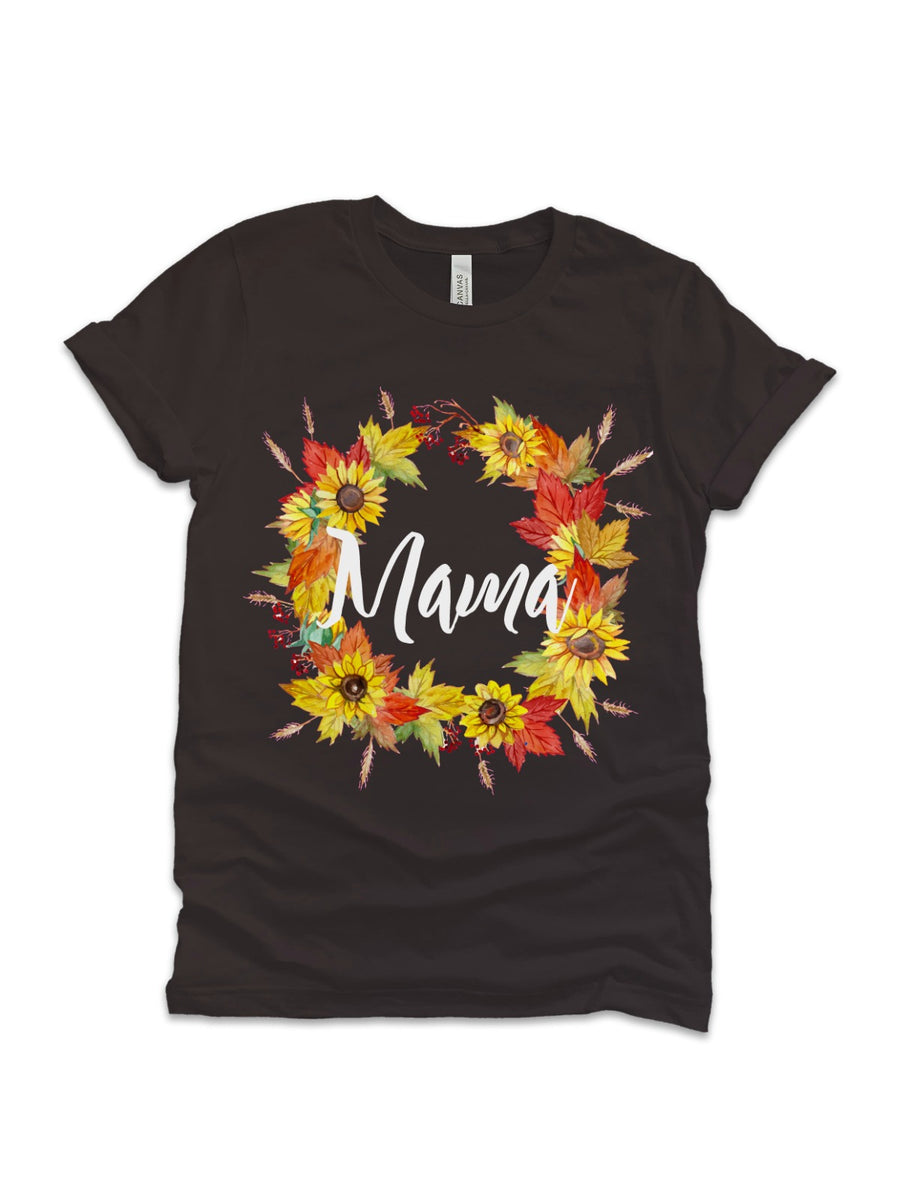 mommy and me fall sunflower wreath shirts set