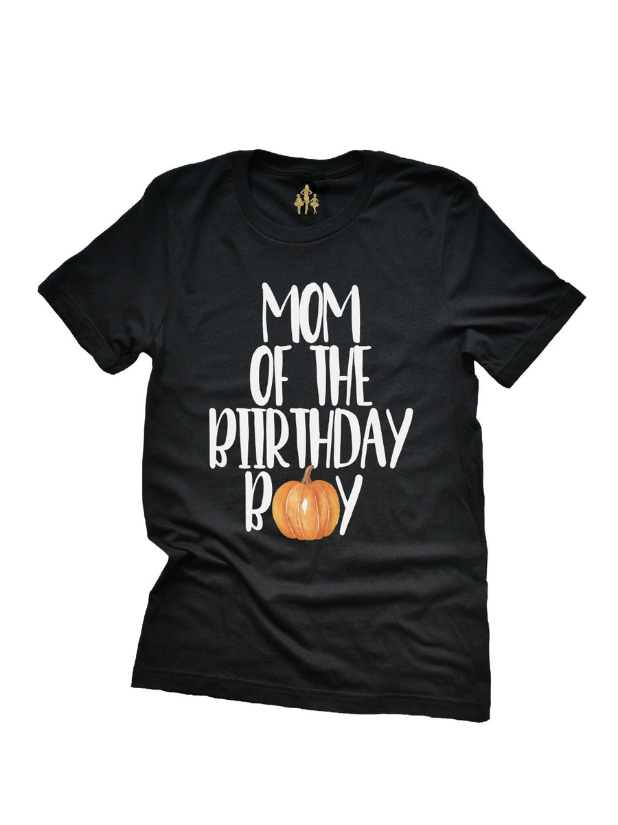 mom of the birthday boy watercolor pumpkin women's t-shirt