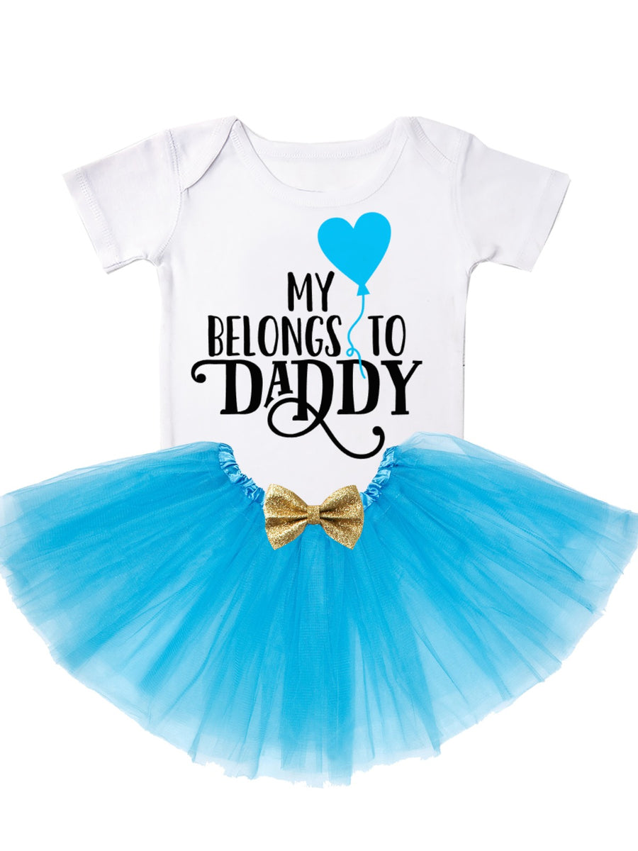 My Heart Belongs To Daddy Baby Girl Tutu Outfit in Pink