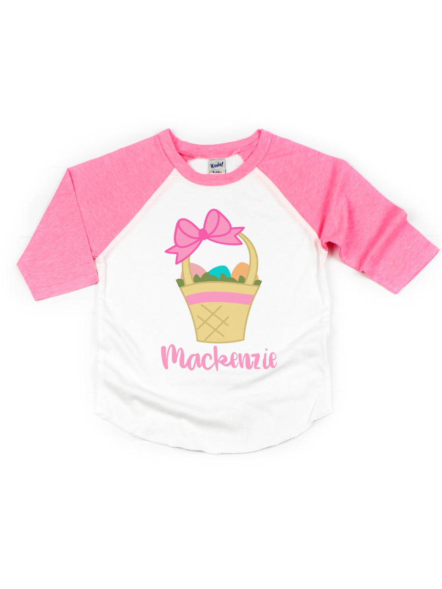 Personalized Pink & White Easter Basket Raglan Tee