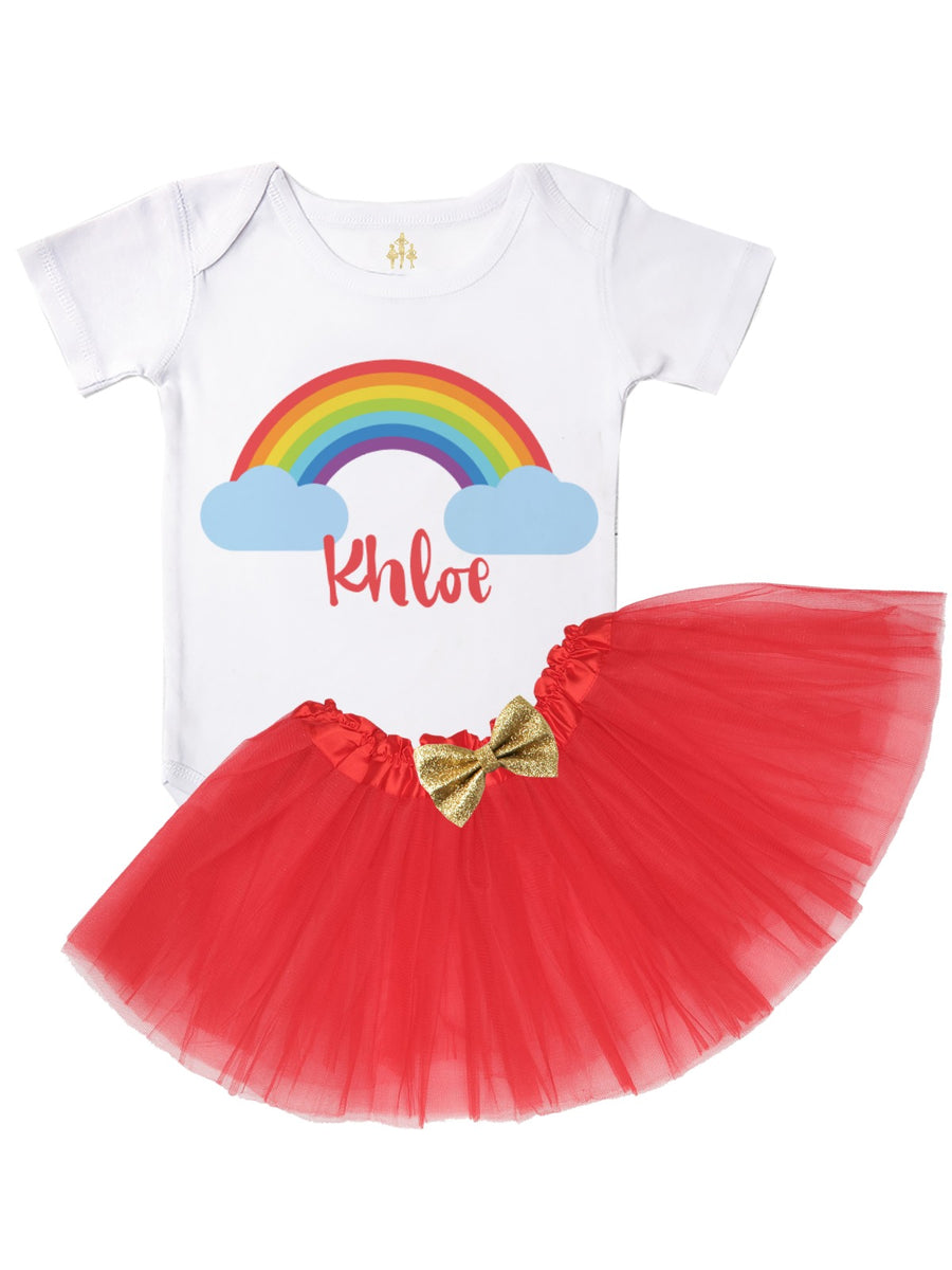 Personalized Rainbow Tutu Outfit in Red