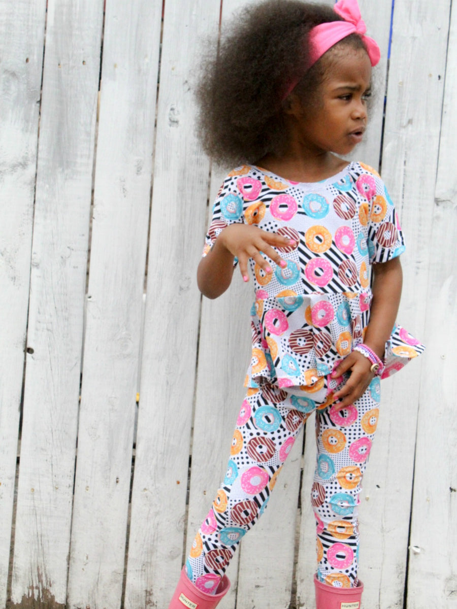 girls sprinkle donut leggings