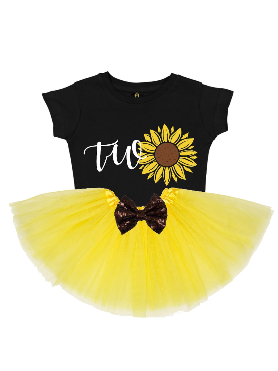 girls second birthday sunflower shirt in black