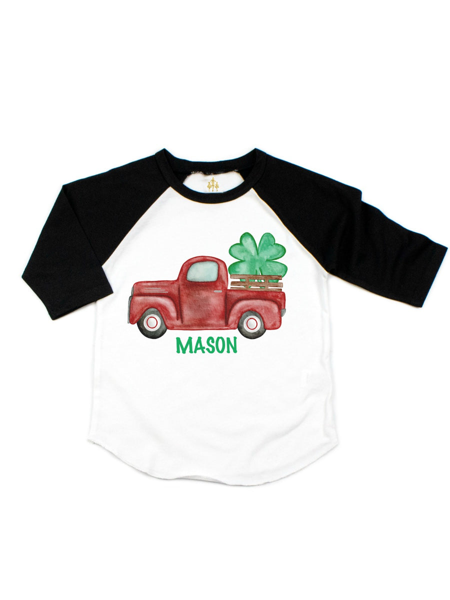 kids personalized st. patrick's day vintage red truck and four-leaf clover tee