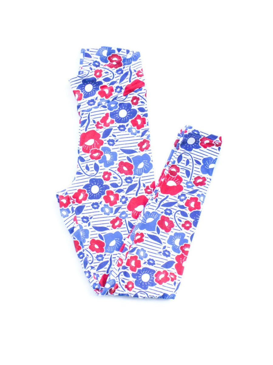 Adult Patriotic Floral Leggings