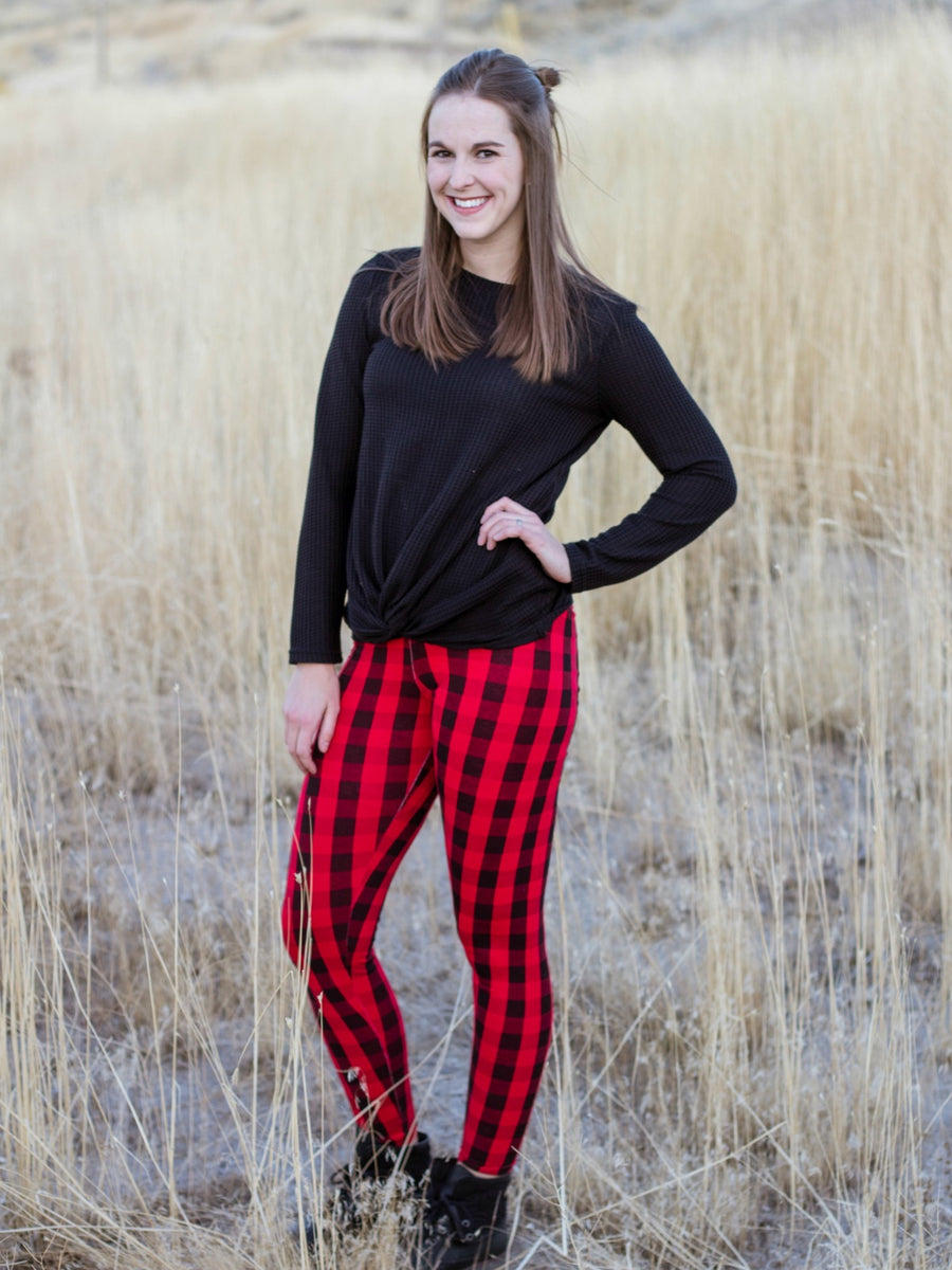 womens red and black buffalo plaid leggings
