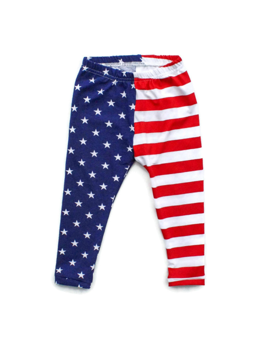 girls stars and stripes 4th of july leggings