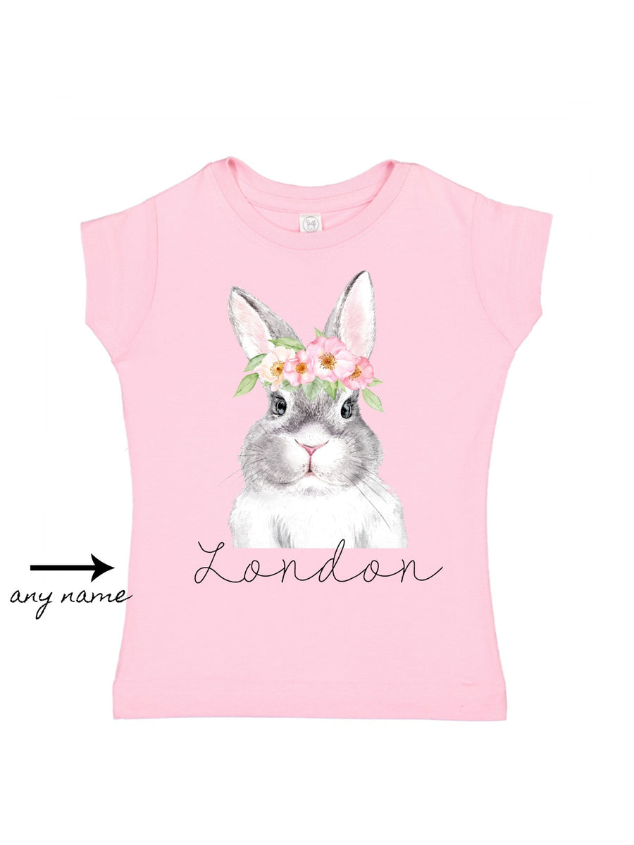 Personalized Flower Crown Bunny - Pink
