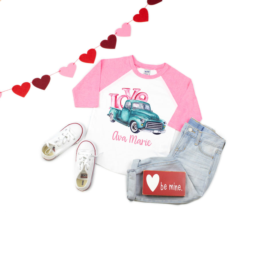 girl's LOVE tractor on pink and white raglan tee
