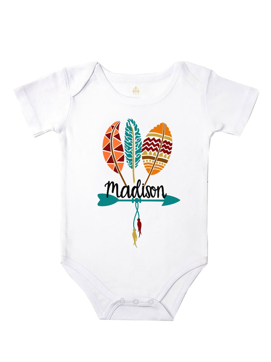 baby girl personalized fall feathers tribal bodysuit