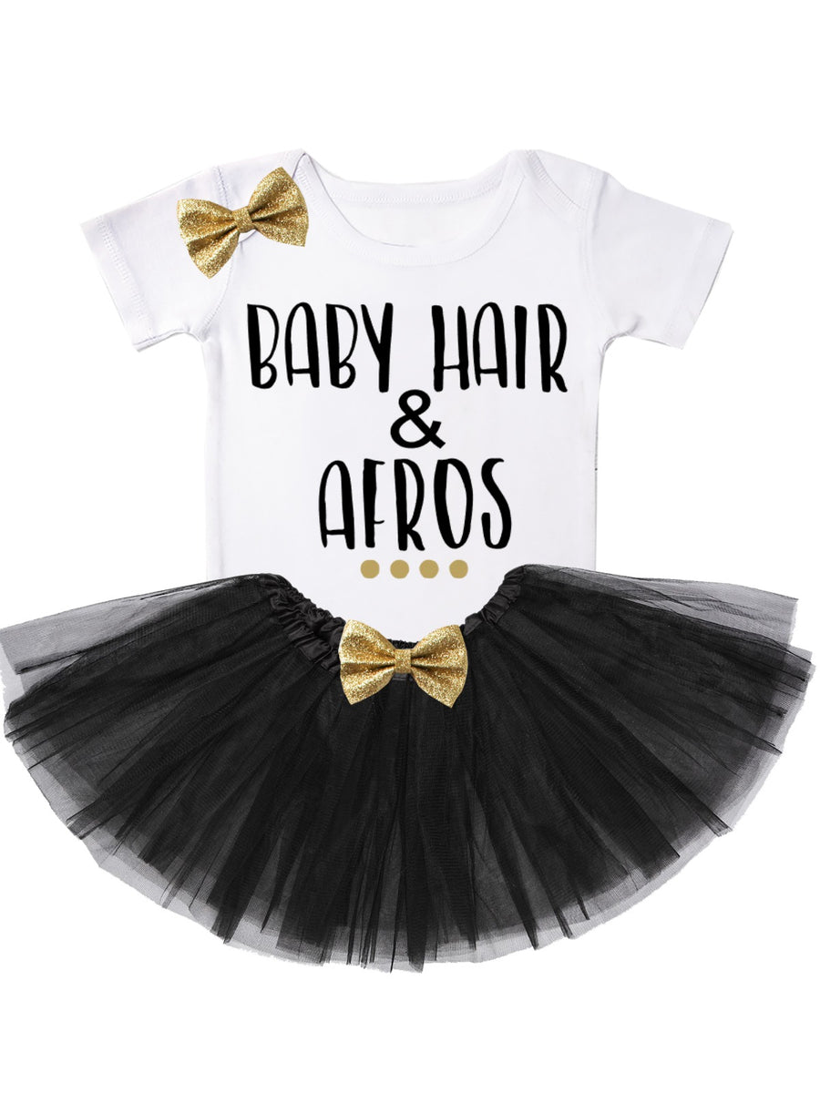 baby hair and afros tutu outfit in black and gold