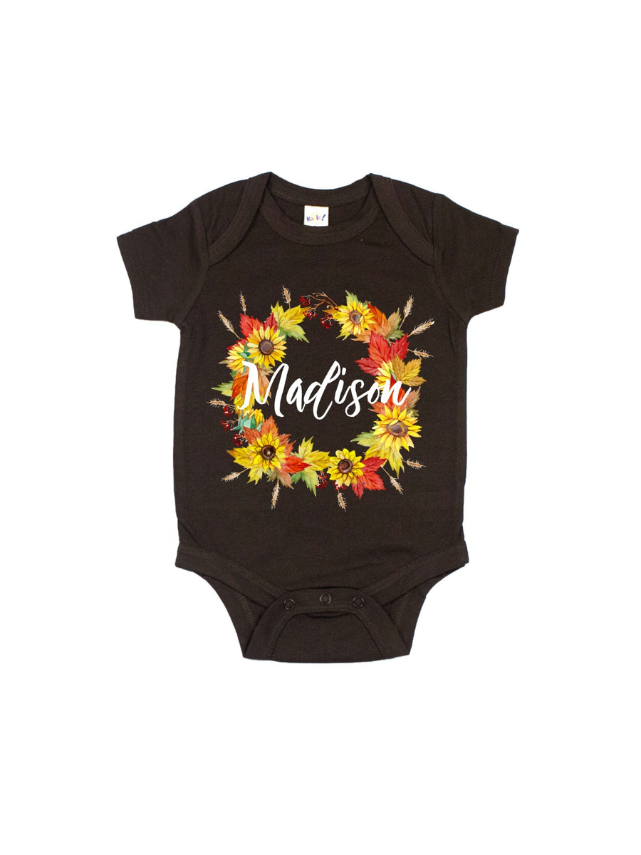 personalized baby girl sunflower fall wreath bodysuit