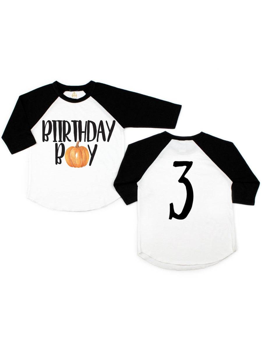 kids birthday boy pumpkin shirt