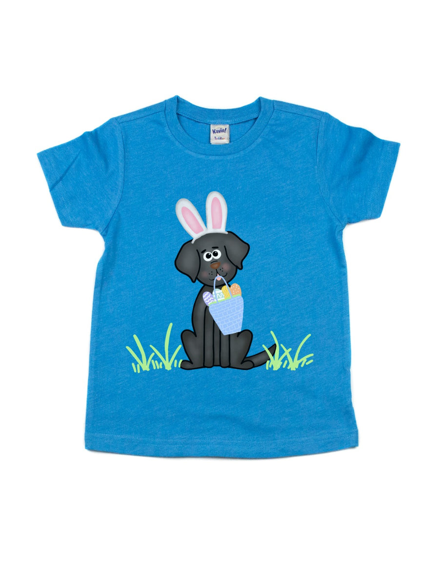 kids black lab easter basket egg t shirt
