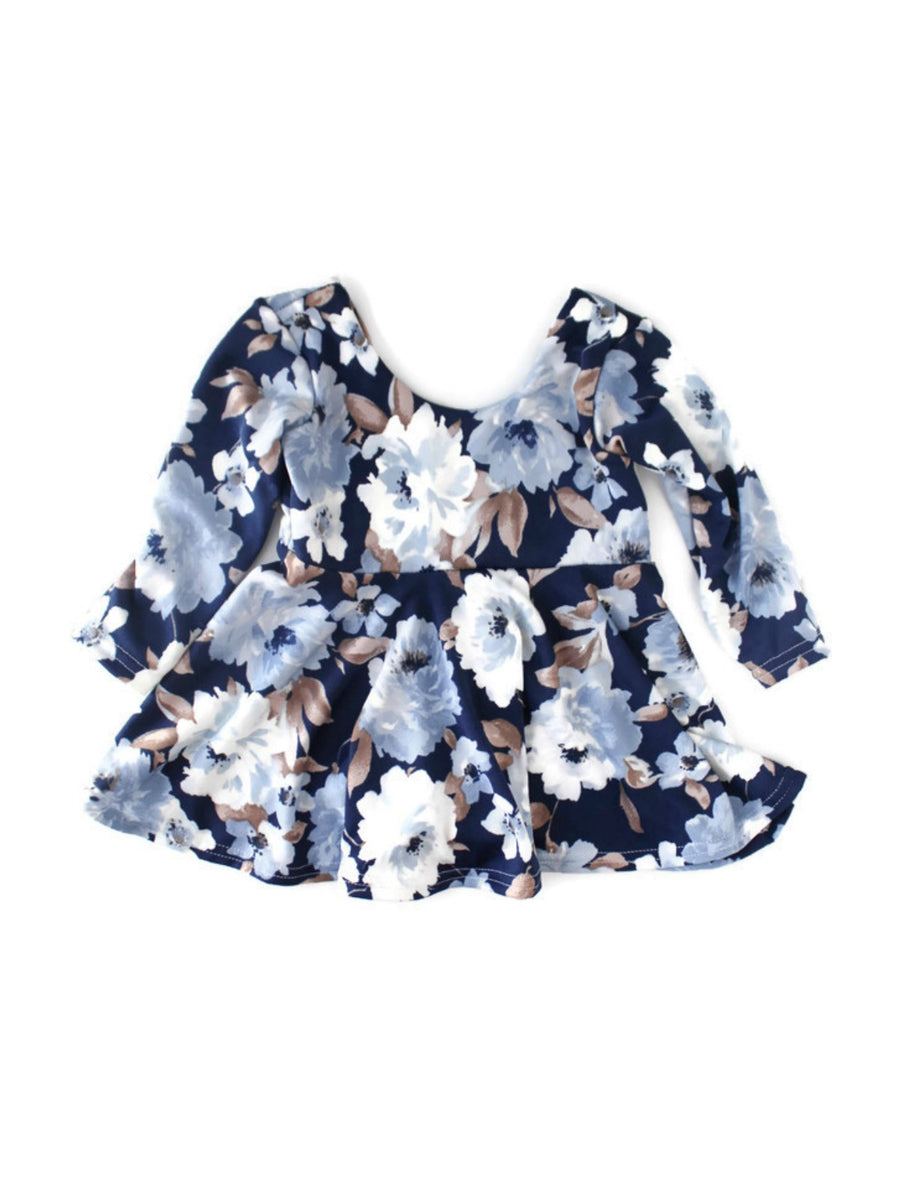 girls blue and gray floral long sleeve dress