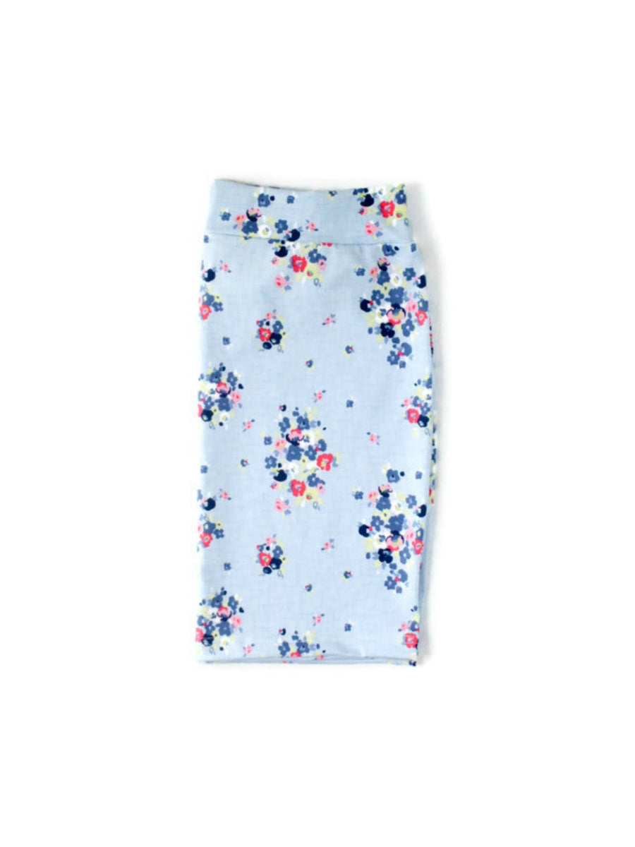 women's light blue floral pencil skirt