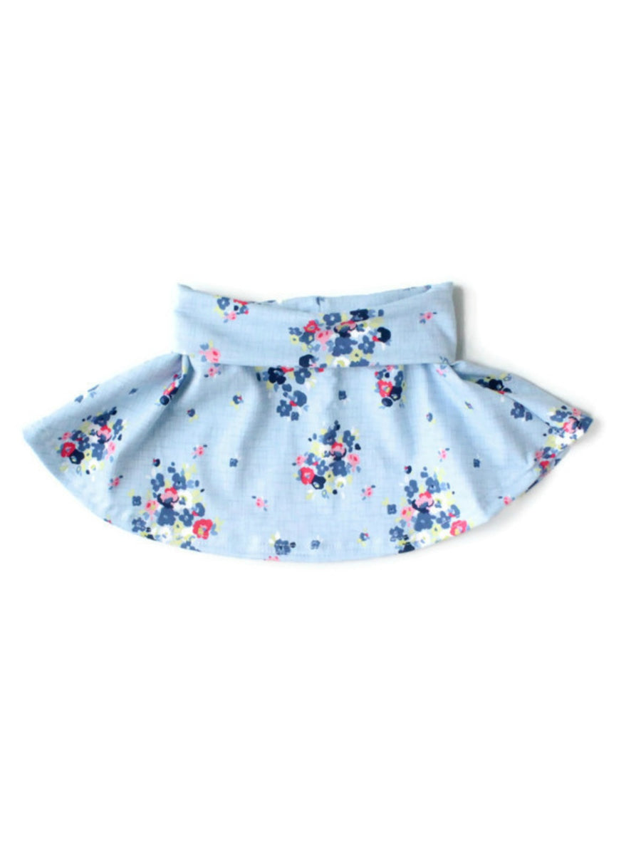 girls light blue floral skater skirt