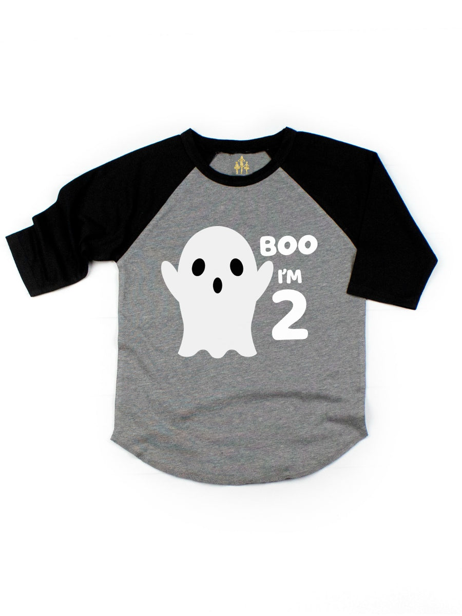 kids boo i'm 2 halloween birthday ghost shirt