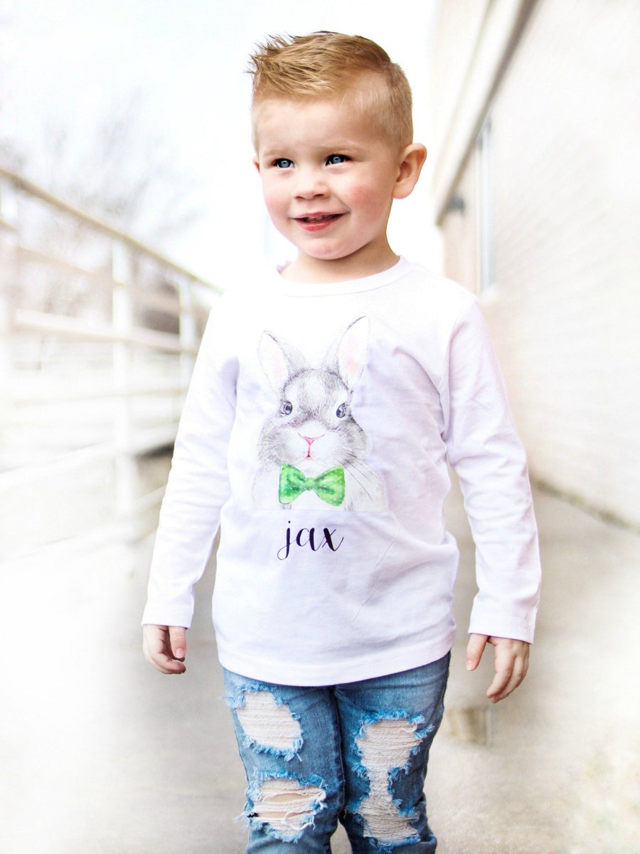 green watercolor Easter bunny tee