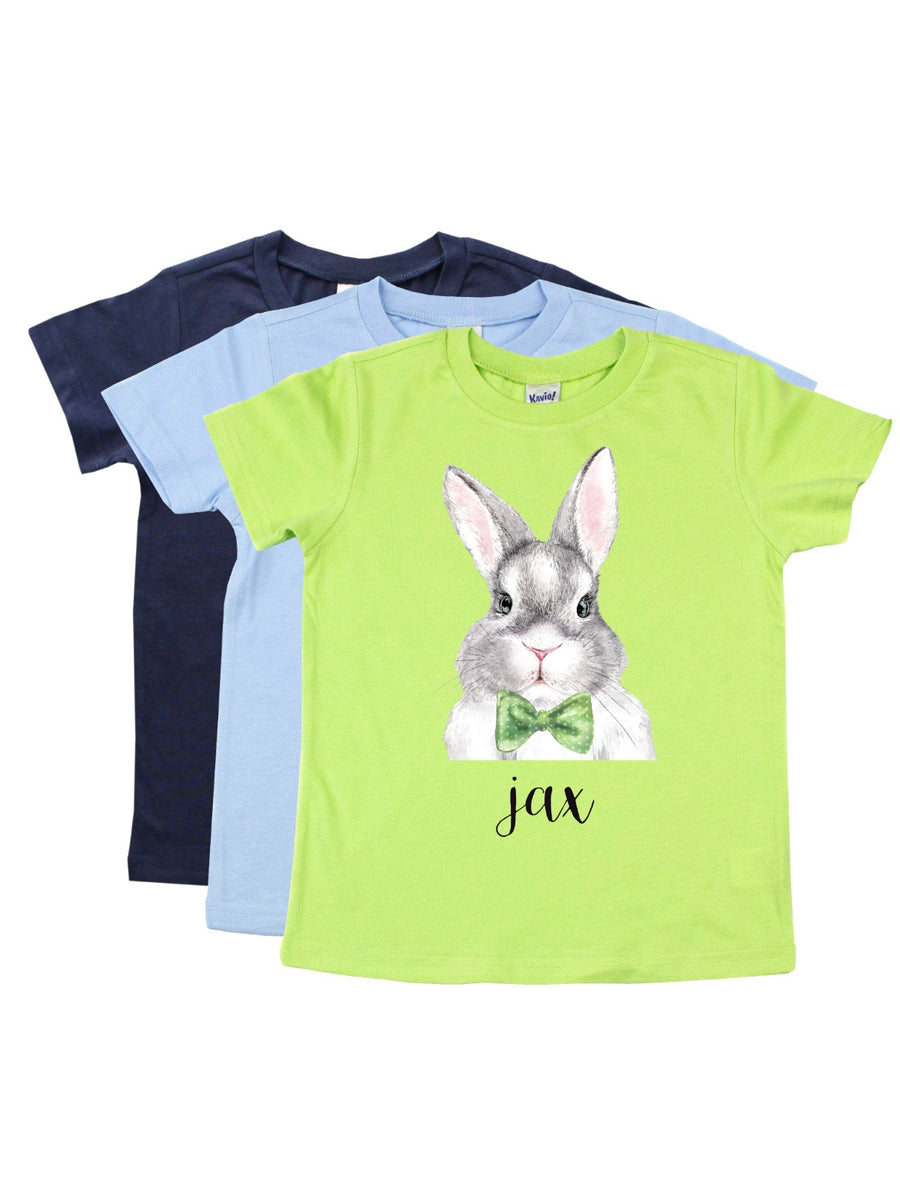 personalized bowtie bunny boys easter shirt