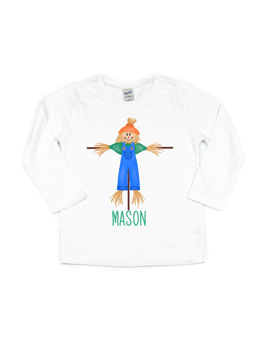 personalized boys fall scarecrow shirt