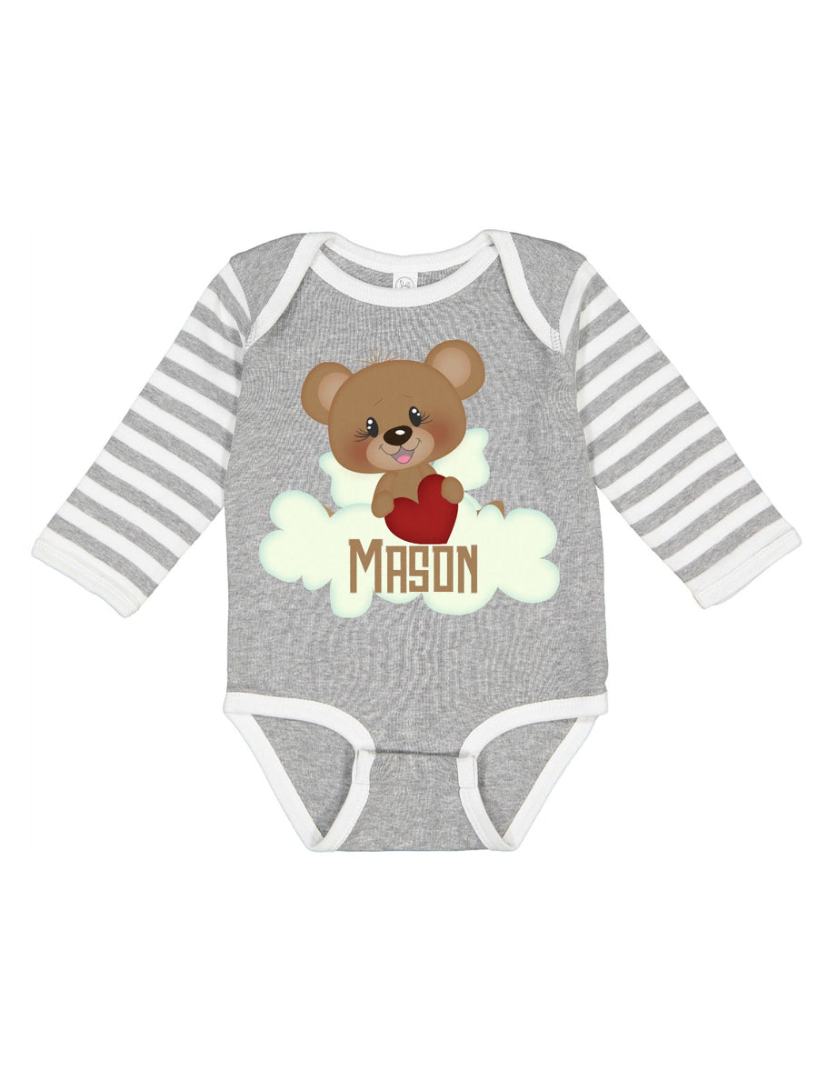 personalized valentine's day brown bear baby bodysuit