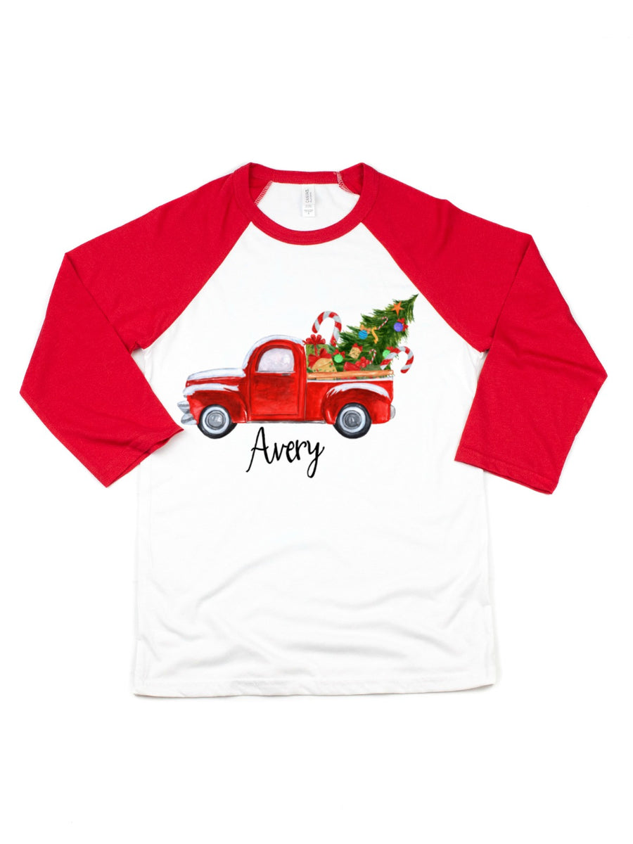 Christmas Truck Tree Red & White Raglan