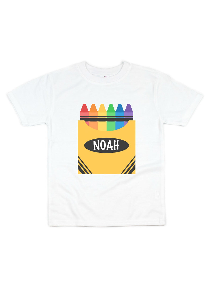 kids personalized crayon box shirt