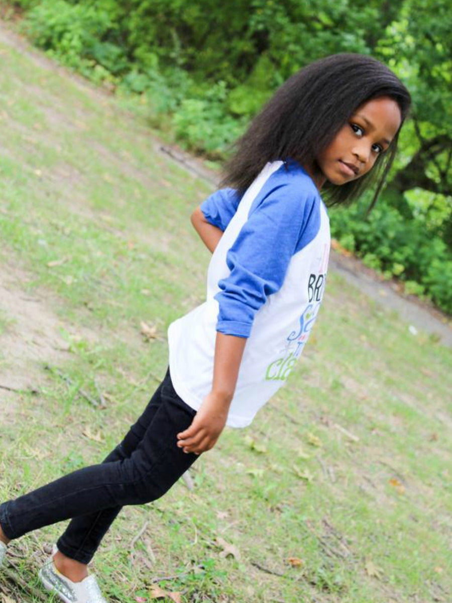 Im bringing sass to the class girls blue raglan shirt
