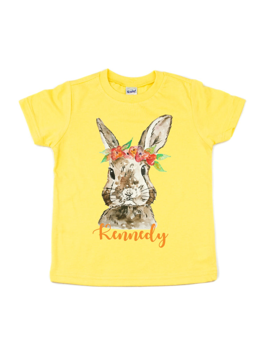 brown watercolor flower crown bunny shirt easter kids