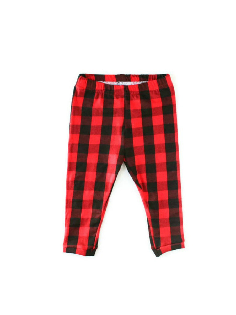 buffalo plaid leggings for baby girls