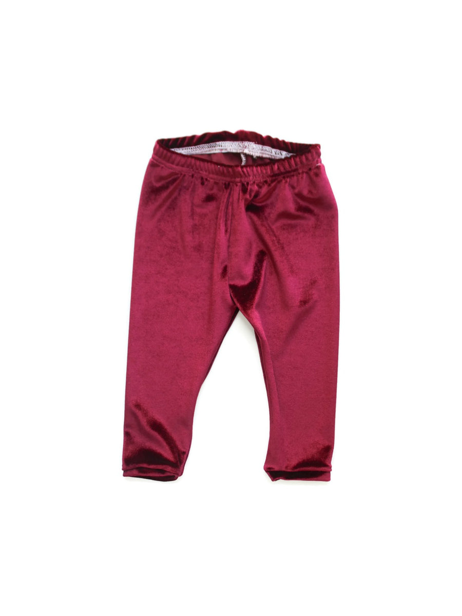 girls magenta velvet leggings