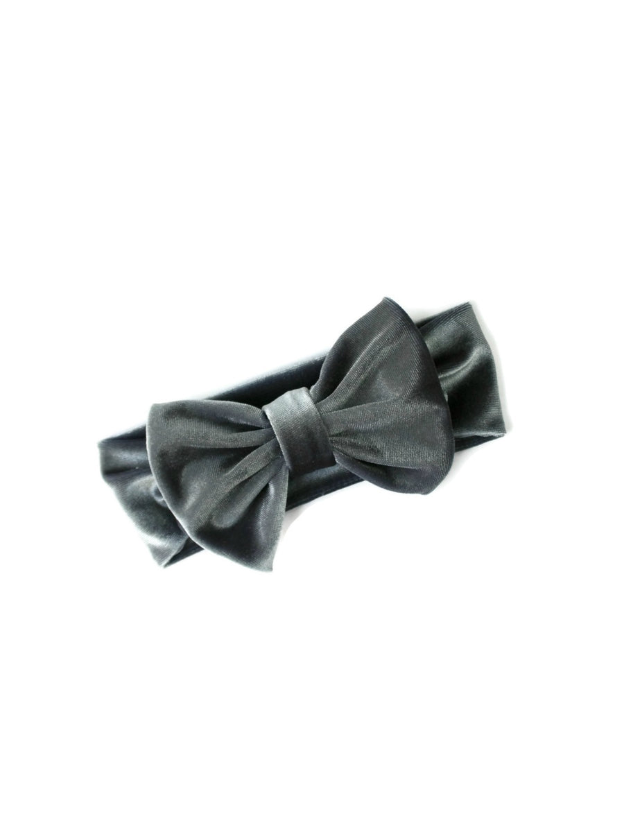 charcoal gray girls bow headband