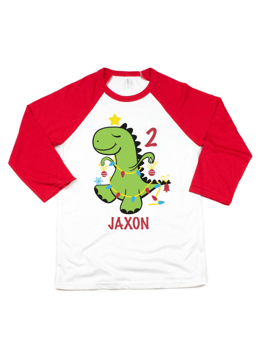 Christmas dinosaur birthday raglan t-shirt