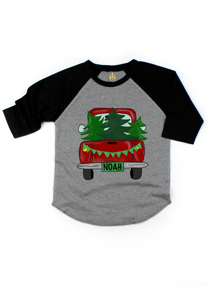 kids personalized Christmas tree truck raglan shirt