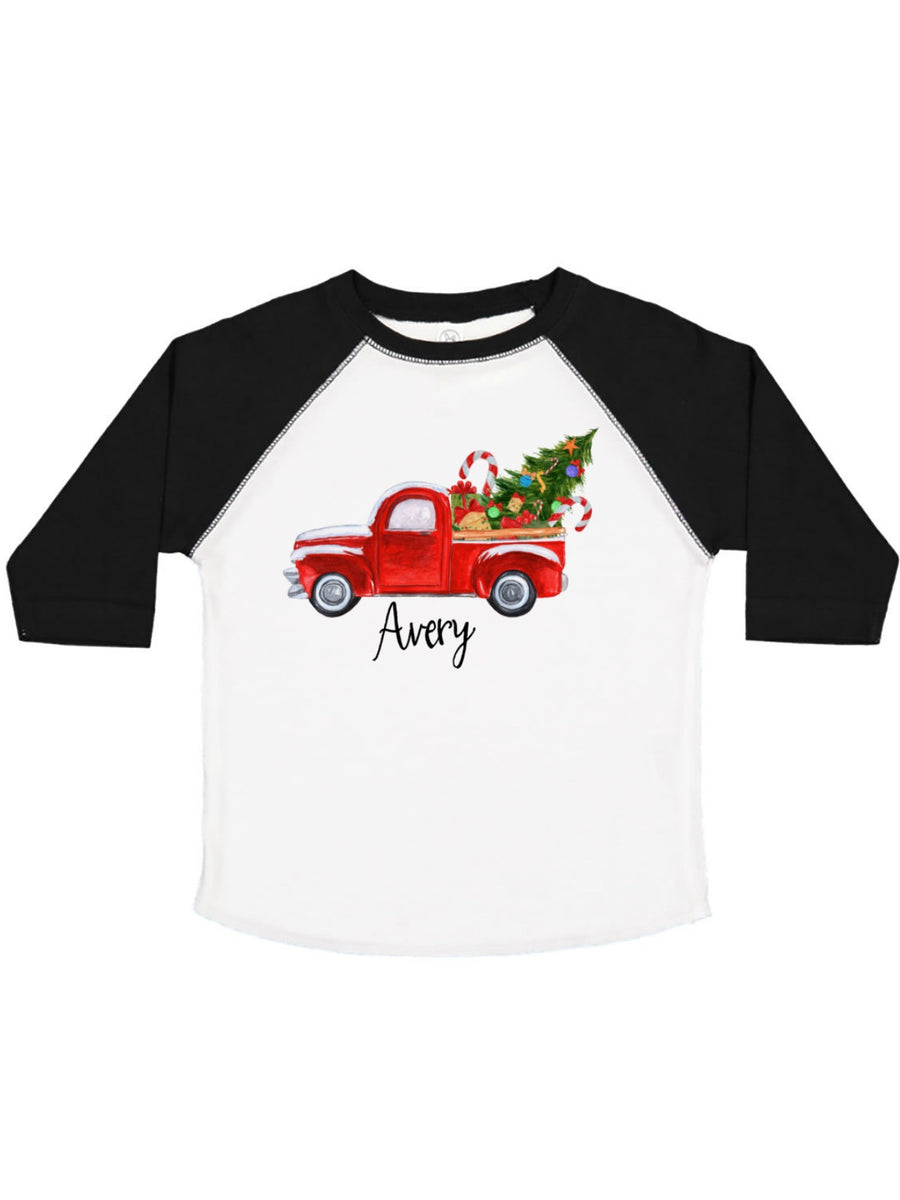 personalized red truck Christmas tree boys raglan t-shirt
