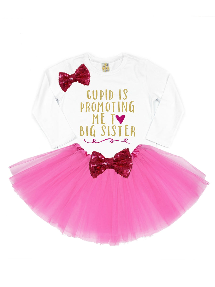 cupid is promoting me to big sister pink and gold t-shirt