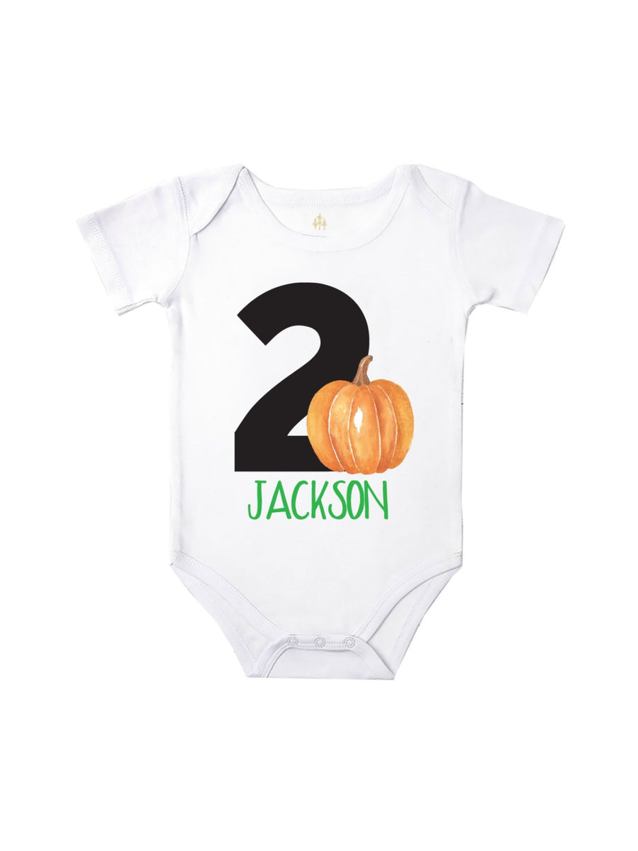 personalized pumpkin baby birthday bodysuit