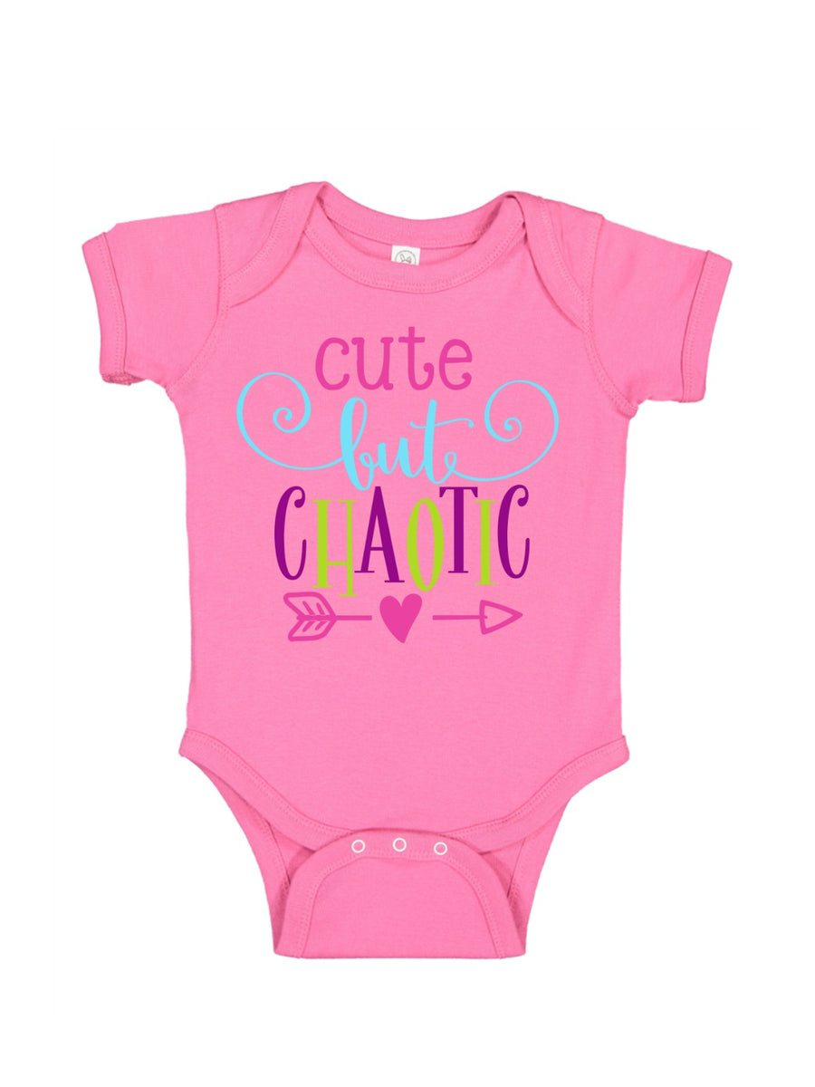 cute but chaotic pink baby bodysuit