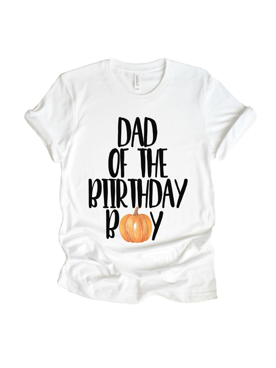dad of the birthday boy pumpkin t-shirt