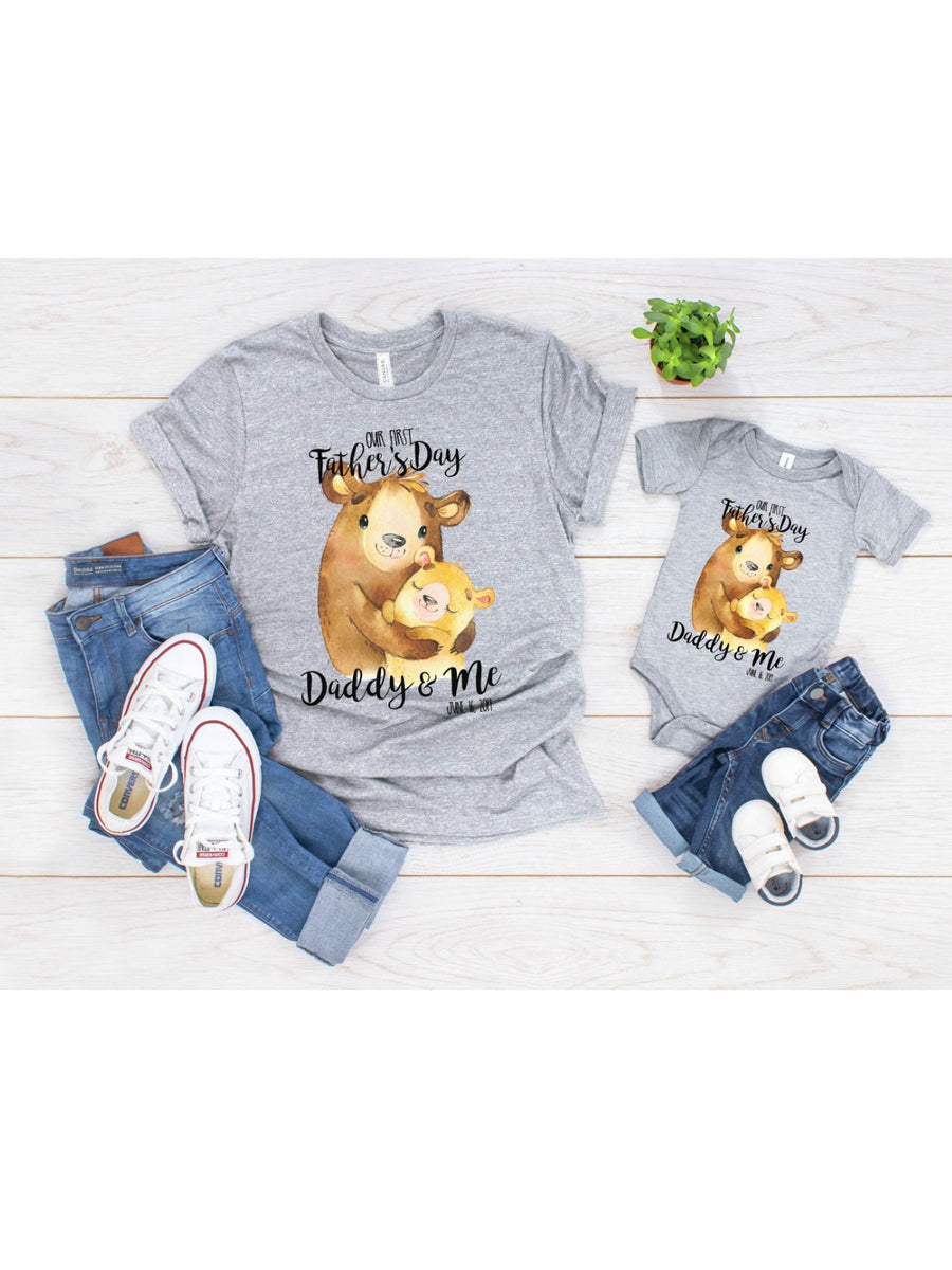 daddy and me matching fathers day t-shirts personalized