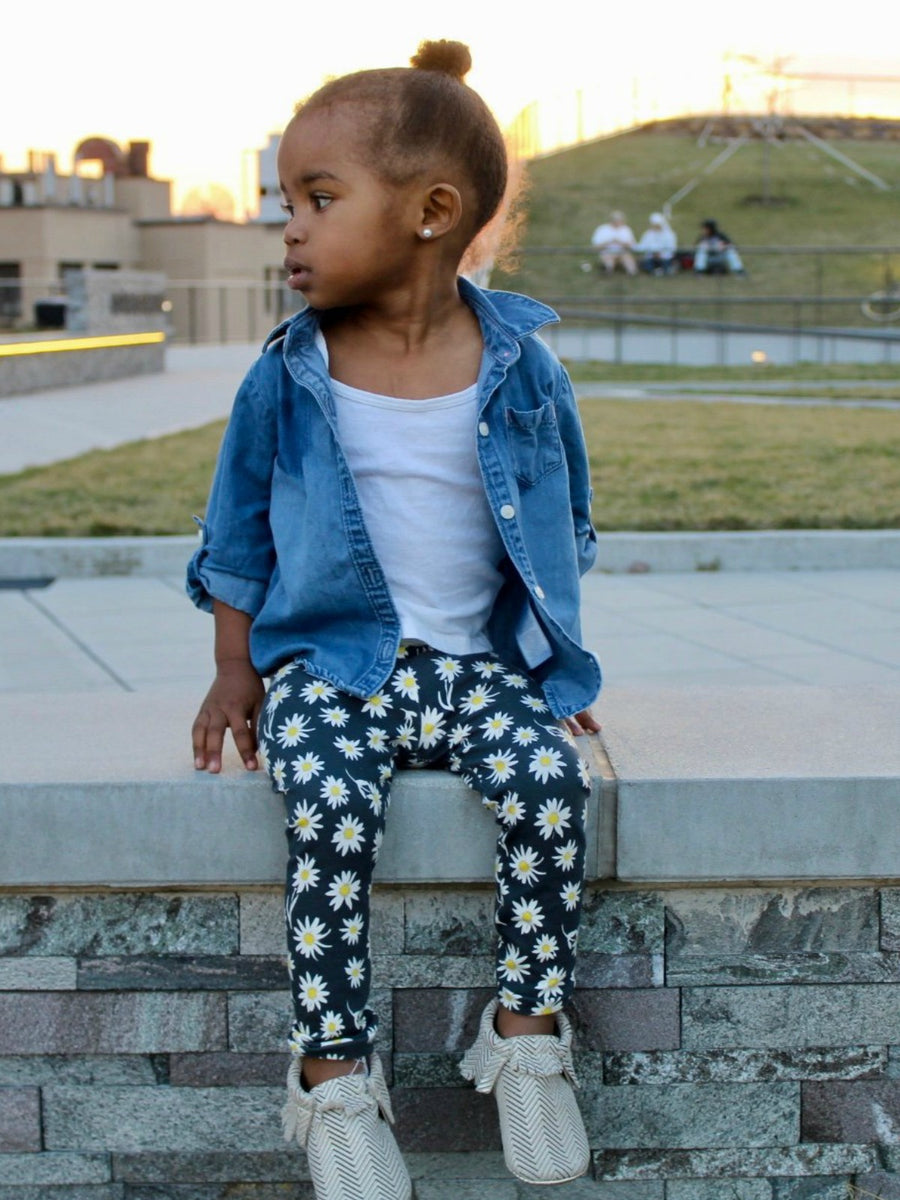 baby girl, toddler girl daisy leggings